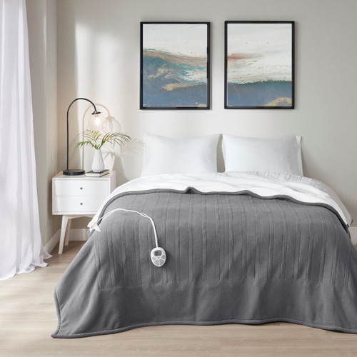 Dark Grey & White Reversible Fleece to Sherpa Heated Year Round Blanket (Fleece to Sherpa-Dark Grey-Heated Blanket)