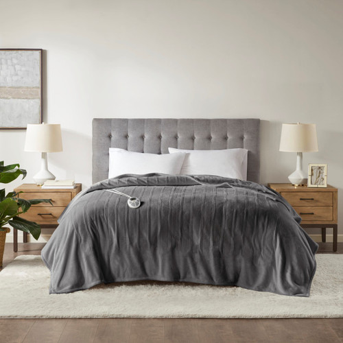 Dark Grey Ultra-Plush Heated Year Round Blanket w/Automatic Shut-off (Plush Heated-Dark Grey-Blanket)