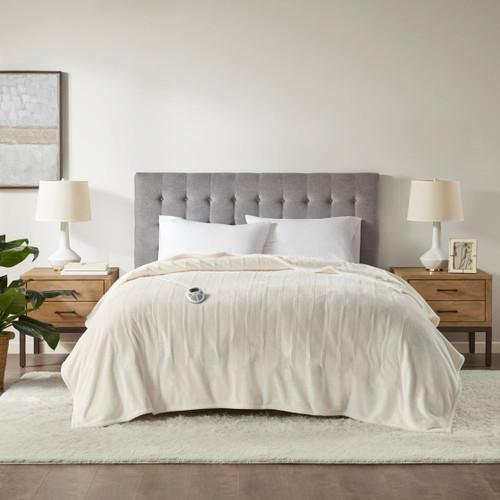 Ivory Ultra-Plush Heated Year Round Blanket w/Automatic Shut-off (Plush Heated-Ivory-Blanket)