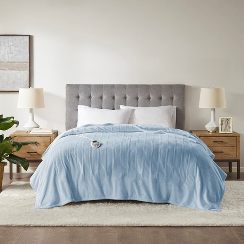 Light Blue Ultra-Plush Heated Year Round Blanket w/Automatic Shut-off (Plush Heated-Light Blue-Blanket)