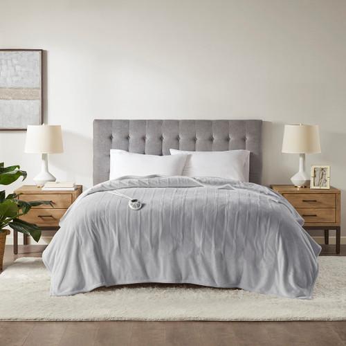 Light Grey Ultra-Plush Heated Year Round Blanket w/Automatic Shut-off (Plush Heated-Light Grey-Blanket)