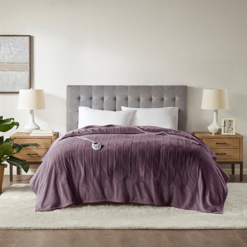 Purple Ultra-Plush Heated Year Round Blanket w/Automatic Shut-off (Plush Heated-Purple-Blanket)