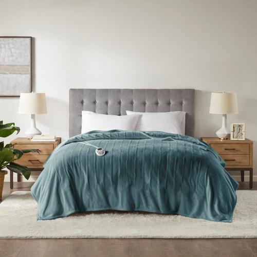 Teal Blue Ultra-Plush Heated Year Round Blanket w/Automatic Shut-off (Plush Heated-Teal-Blanket)
