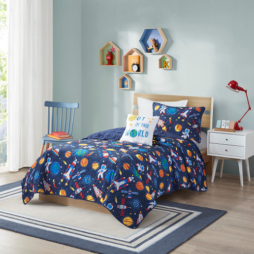 Out of this World Space Print Coverlet Set AND Decorative Pillow (Jason-Multi-cov)