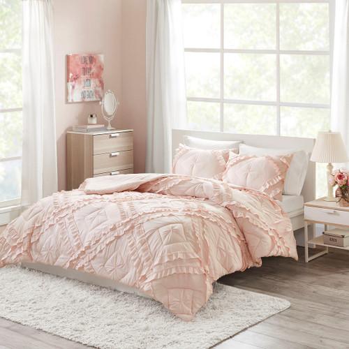 Blush Pink Tufted Diamond Ruffles Coverlet AND Decorative Shams (Kacie-Blush-coverlet)