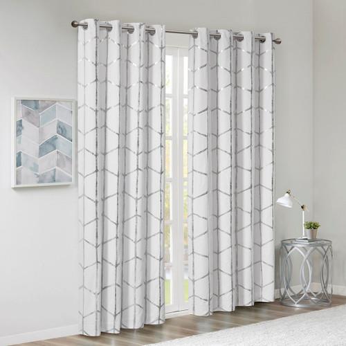White & Silver Geometric Metallic Silver BLACKOUT Window Panel (Raina-White/Silver-window)