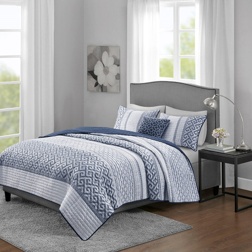 4pc Navy Blue & Grey Geometric Reversible Coverlet Set AND Decorative Pillows (Bennett-Navy-cov)