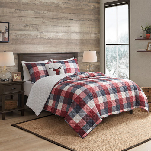 4pc Red & Blue Buffalo Plaid Herringbone Reversible Coverlet Set AND Decorative Pillow (Pine Hill-Red-cov)