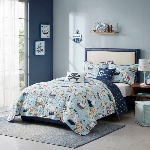 Pirate Ahoy Mate Cotton Reversible Coverlet Set AND Decorative Pillows (Pirate-Blue-cov)