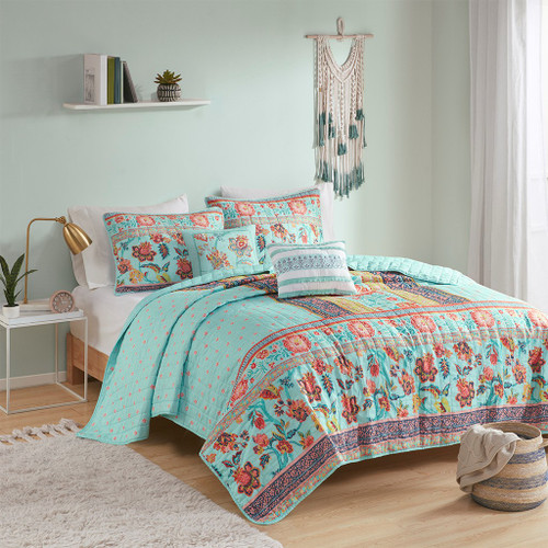 Aqua Blue Floral Global Inspired Coverlet Set AND Decorative Pillows