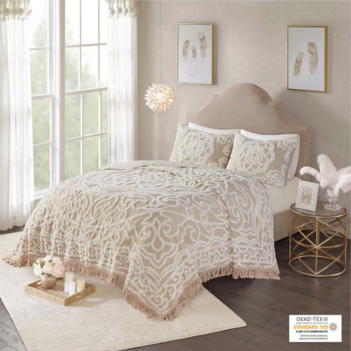 3pc Taupe Cotton Chenille Medallion Coverlet AND Decorative Shams (Laetitia Fringed-Taupe-cov)