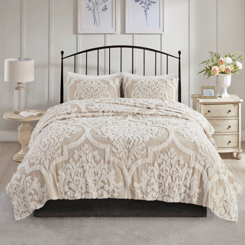 3pc Taupe Tufted Cotton Chenille Damask Coverlet AND Decorative Shams (Viola-Taupe-cov)
