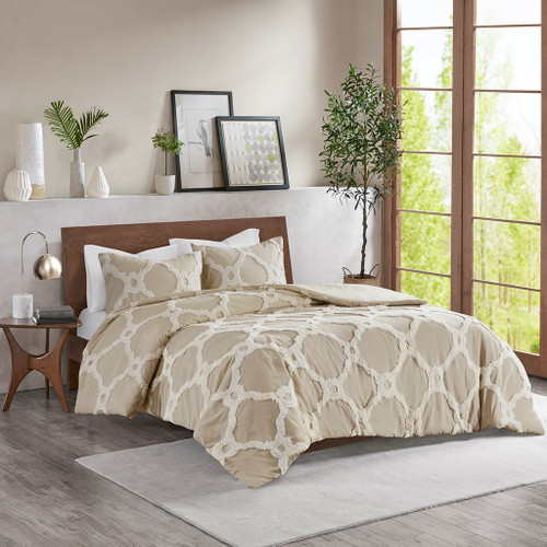 3pc Taupe Cotton Chenille Design Duvet Cover AND Decorative Shams (Pacey -Taupe-Duv)