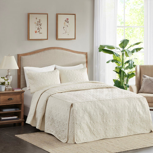 3pc Ivory Cream Quilted Split Corner Bedspread AND Decorative Shams (Quebec-Cream-Bedspread)
