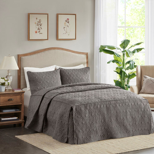 3pc Dark Grey Quilted Split Corner Bedspread AND Decorative Shams (Quebec-Dark Grey-Bedspread)