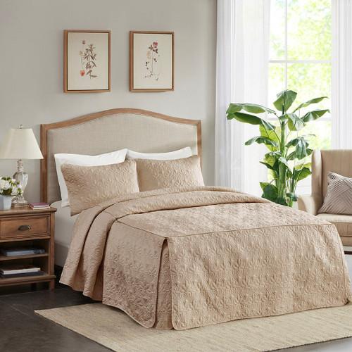 3pc Khaki Brown Quilted Split Corner Bedspread AND Decorative Shams (Quebec-Khaki-Bedspread)