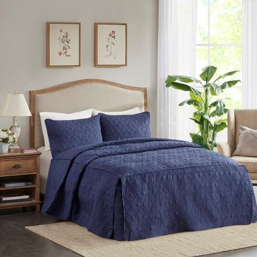 3pc Navy Blue Quilted Split Corner Bedspread AND Decorative Shams (Quebec-Navy-Bedspread)