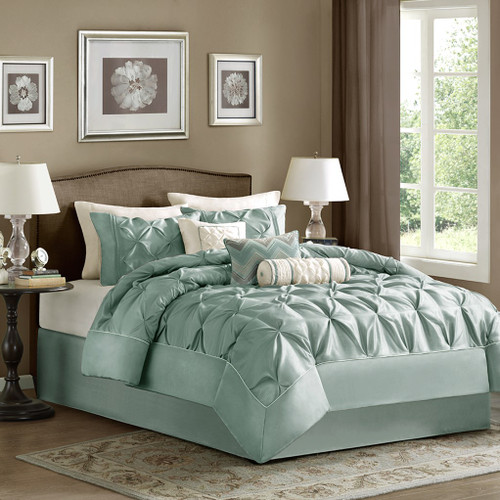 7pc Pleated Blue Comforter Set AND Decorative Pillows (Laurel-Blue)