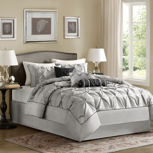 7pc Pleated Grey Comforter Set AND Decorative Pillows (Laurel-Grey)