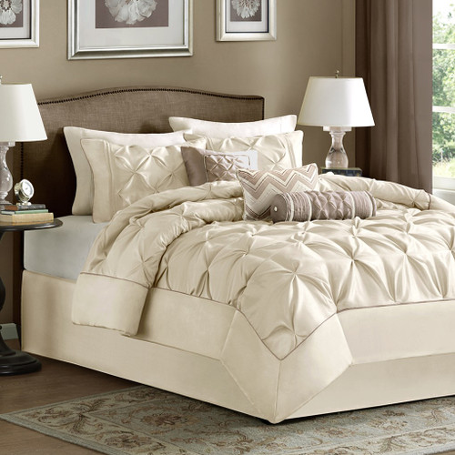 7pc Pleated Ivory Comforter Set AND Decorative Pillows (Laurel-Ivory)