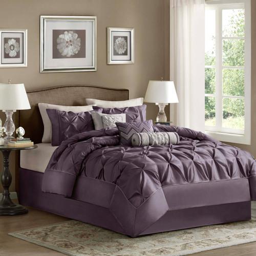 7pc Purple Pleated Comforter Set AND Decorative Pillows (Laurel-Purple)