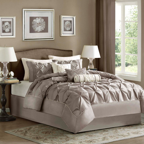 7pc Taupe Pleated Comforter Set AND Decorative Pillows (Laurel-Taupe)
