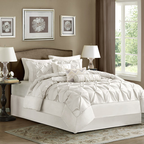 7pc White Pleated Comforter Set AND Decorative Pillows (Laurel-White)