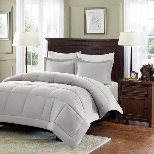 Grey Microcell Down Alternative Comforter and Pillow Shams (Sarasota-Grey)