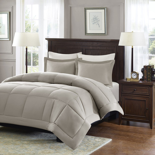 Taupe Microcell Down Alternative Comforter and Pillow Shams (Sarasota-Taupe)