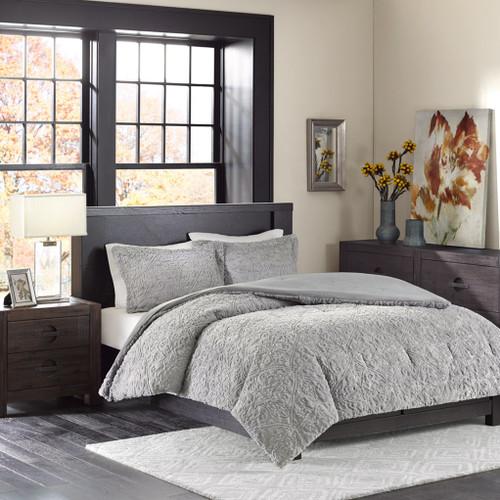 Grey Ultra Plush Comforter AND Pillow Shams (Bismarck-Grey)