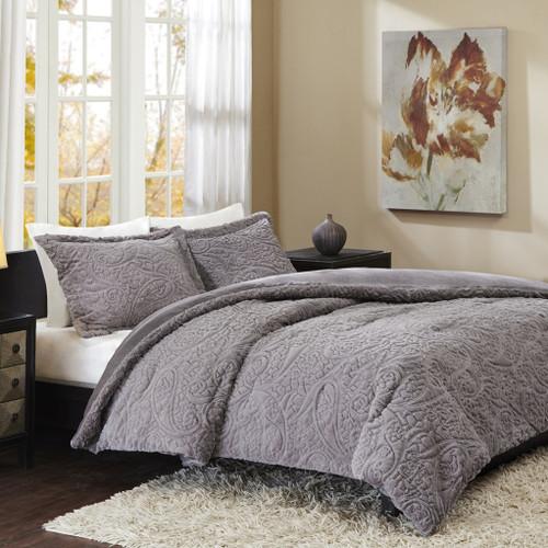 Grey Paisley Ultra Plush Comforter AND Pillow Shams (Norfolk-Grey)
