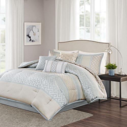 7pc Aqua Seafoam and Taupe Geometric Comforter Set AND Decorative Pillows (Bennett-Aqua)