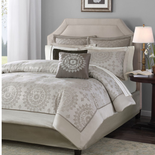12pc Taupe & Ivory Reversible Medallion Comforter Set AND Sheet Set (Tiburon-Taupe)