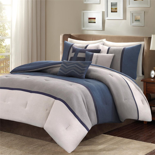 7pc Heather Grey & Blue Microsuede Comforter Set AND Decorative Pillows (Palisades-Blue)
