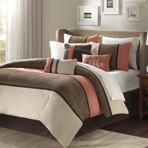 7pc Coral & Khaki Brown Microsuede Comforter Set AND Decorative Pillows (Palisades-Coral)