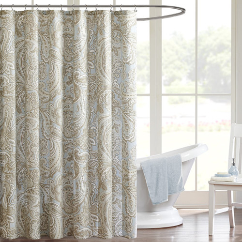 "Soft Blue & Taupe Paisley Print Cotton Shower Curtain - 72"" x 72"" (675716665180)"