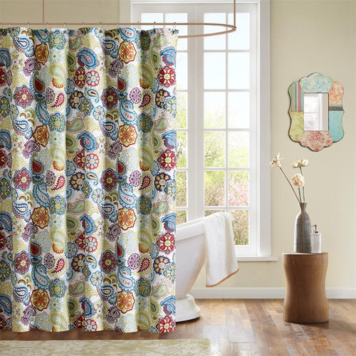 """Colorful Paisley & Floral Microfiber Shower Curtain - 72"""" x 72"""" (675716493141)"""