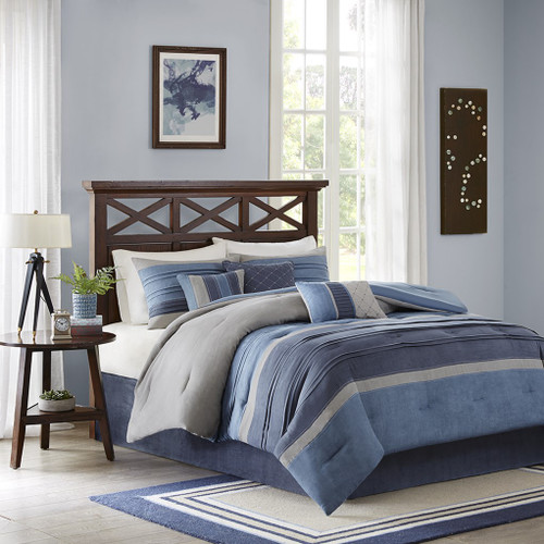 7pc Shades of Blue & Grey Microsuede Comforter Set AND Decorative Pillows (Copy of Collins-Blue)