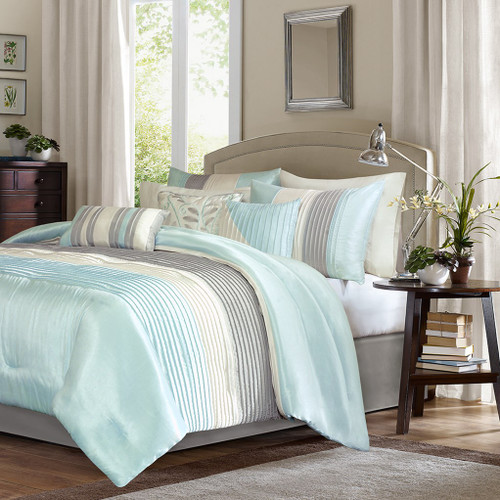 7pc Aqua & Grey Striped Comforter Set AND Decorative Pillows (Amherst-Aqua)