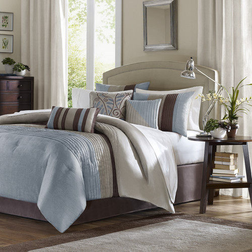 7pc Blue & Brown Striped Comforter Set AND Decorative Pillows (Amherst-Blue)