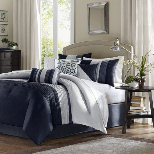 7pc Navy Blue & Grey Striped Comforter Set AND Decorative Pillows (Amherst-Navy)