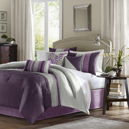 7pc Purple & Grey Striped Comforter Set AND Decorative Pillows (Amherst-Purple)