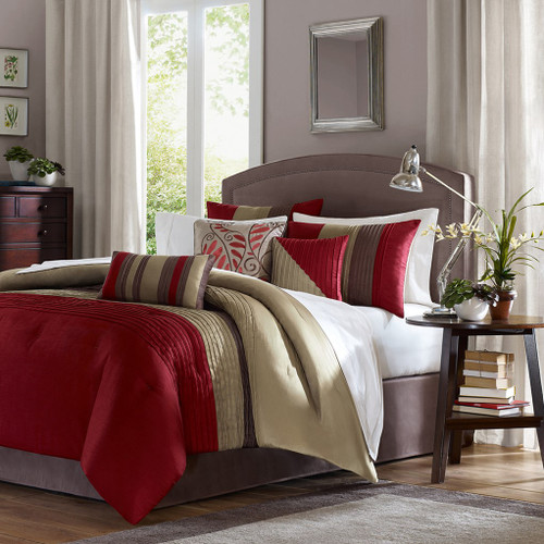7pc Crimson Red & Tan Striped Comforter Set AND Decorative Pillows (Amherst-Red)