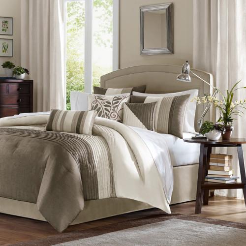 7pc Khaki Striped Comforter Set AND Decorative Pillows