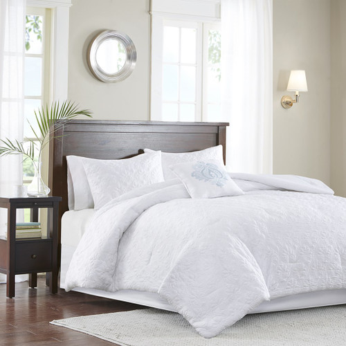 5pc White Quilted Comforter Set AND Decorative Pillow (Quebec-White)
