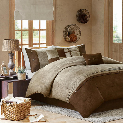 7pc Textured Brown & Khaki Microsuede Comforter Set AND Decorative Pillows (Boone-Brown)