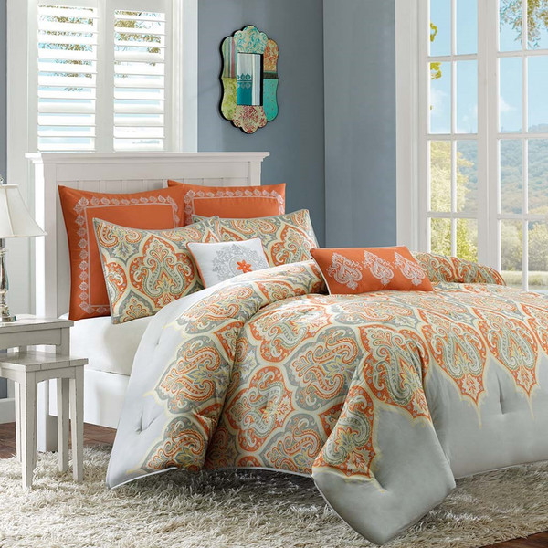 Orange & Grey Updated Paisley Comforter Set AND Decorative Pillows (Nisha-Orange)