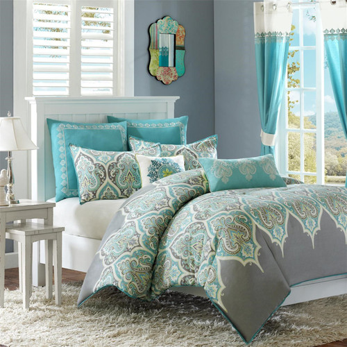 Teal & Grey Updated Paisley Comforter Set AND Decorative Pillows (Nisha-Teal)