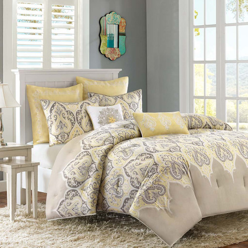 Yellow & Grey Updated Paisley Comforter Set AND Decorative Pillows (Nisha-Yellow)
