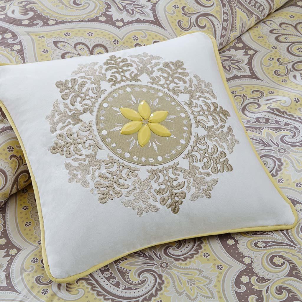 Yellow & Grey Updated Paisley Comforter Set AND Decorative Pillows (Nisha-Yellow)